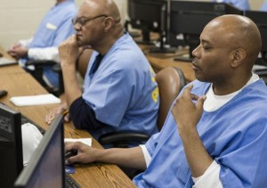 San Quentin inmate Nelson Butler, right, takes a coding class at San Quentin State Prison in San Quentin, Calif. (Photo: Martin E. Klimek, USA TODAY)